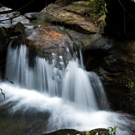 runnel: water flowing over falls, long time exposure