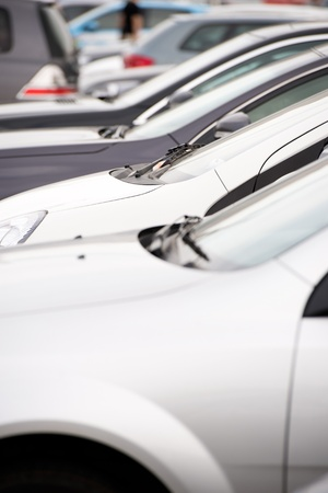 many cars parked in a row.  Stock Photo - 16501913