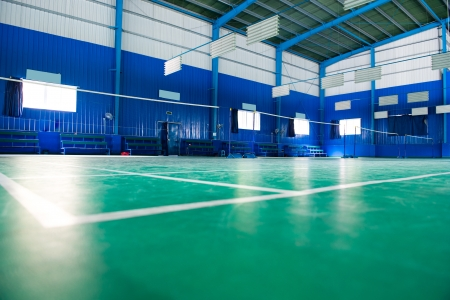 empty badminton court for the competing.
