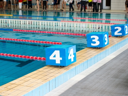 olympic sports: Competition swimming pool with starting blocks