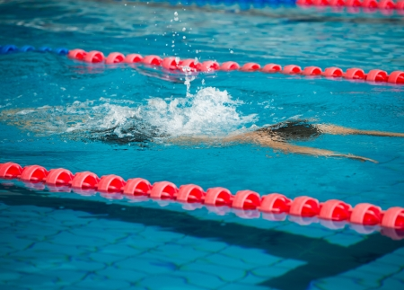 sportman: Man swimming during a competition
