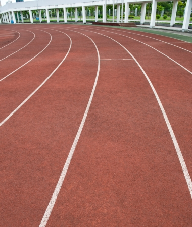 Red treadmill at the stadium.