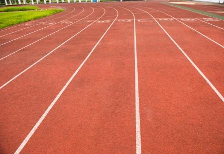 Red treadmill at the stadium. photo