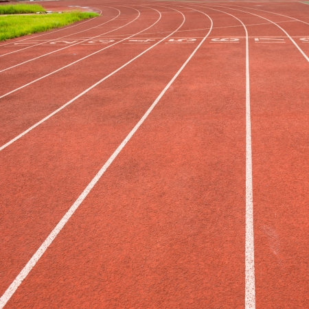 jogging track: Red treadmill at the stadium.