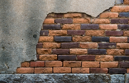 cracked concrete old brick wall background. Stock Photo - 17575450