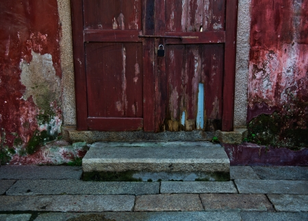 Old style wooden door closed. photo
