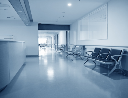seating area: Empty nurses station in a hospital.
