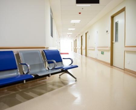hospital interior: Chairs in the hospital hallway.  hospital interior