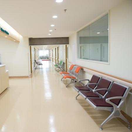nurse station: Empty nurses station in a hospital.