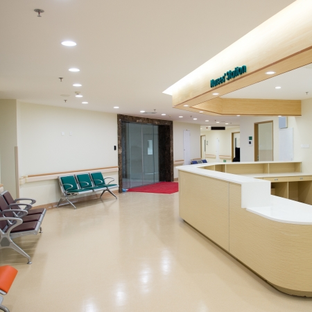 health care facility: Empty nurses station in a hospital.