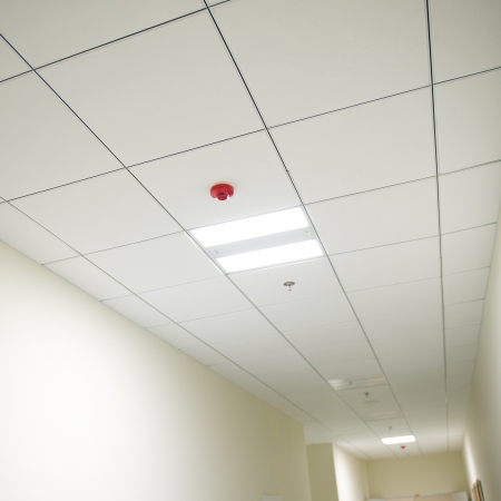 Lights from ceiling of business building. photo