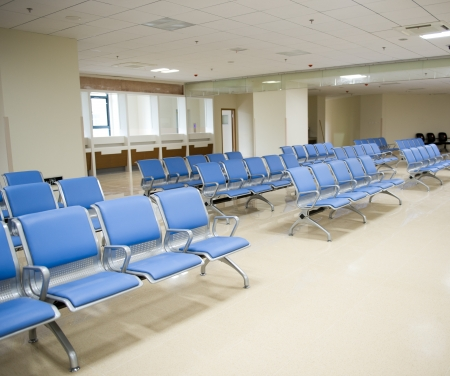 waiting room: Hospital waiting room with empty chairs.