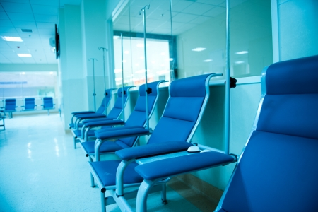 empty chair: row of chairs in a infusion room of hospital.