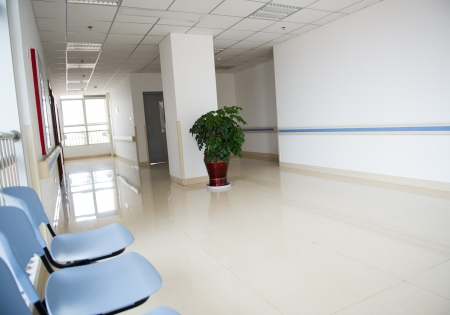 waiting room: Chairs in the hospital hallway. hospital interior Stock Photo