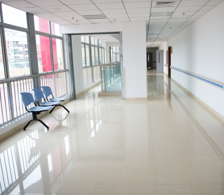 Chairs in the hospital hallway. hospital interior Stock Photo