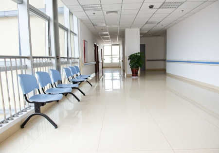 window treatments: Chairs in the hospital hallway. hospital interior Stock Photo