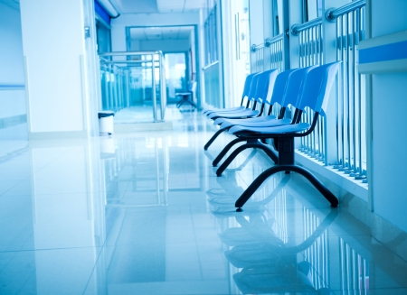 modern hospital: Chairs in the hospital hallway. hospital interior Stock Photo