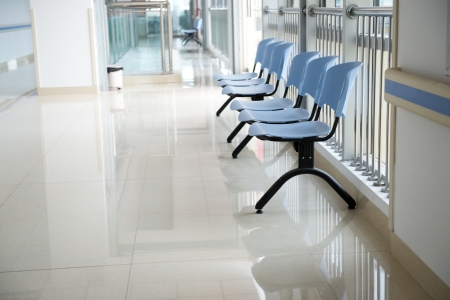 operating hygiene: Chairs in the hospital hallway. hospital interior Stock Photo