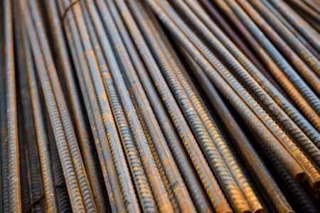 Rust steel rod or bars in warehouse photo
