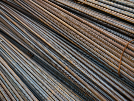 Rust steel rod or bars in warehouse photo