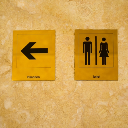 Toilet sign and direction on wall. photo
