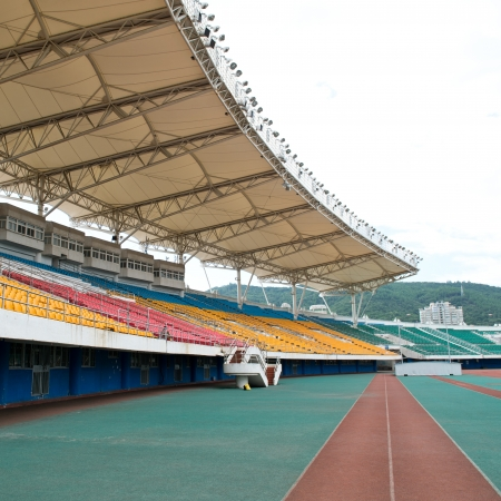 sporting event: part of large sporting stadium.
