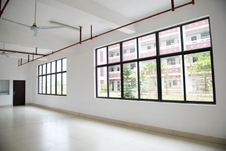 new school: Large window empty interior view