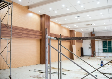 make an investment: Interior of a room under construction.