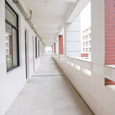 corridors: The middle school corridor in China.