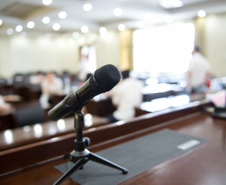 Speaker's table in conference room.  Stock Photo - 17828361