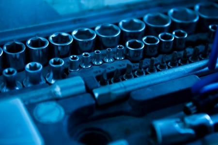 auto repair: Metal work tools in auto repair shop. Stock Photo