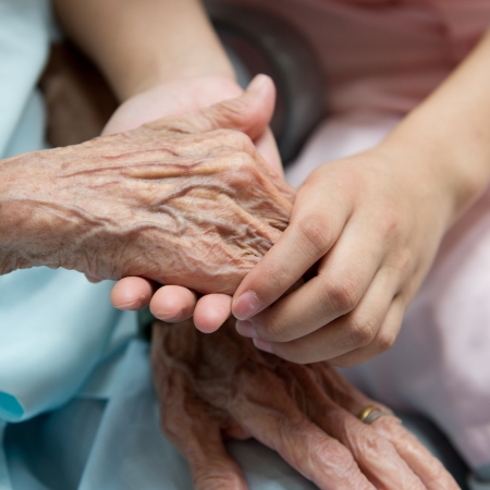 compassion: Young girls hand touches and holds an old womans wrinkled hands.