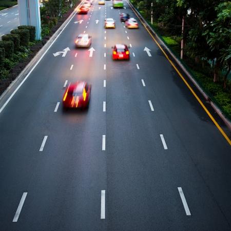 speeding: Long exposure of night traffic. motion blur