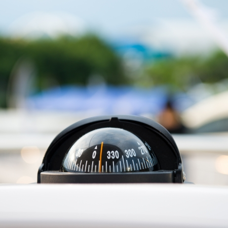 orienteering: Compass and dashboard instruments of a yacht. Stock Photo