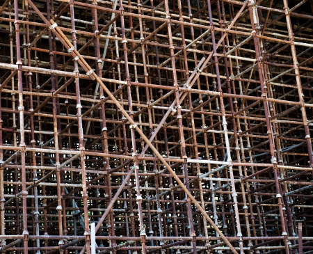 Temporary scaffold for construction works. photo