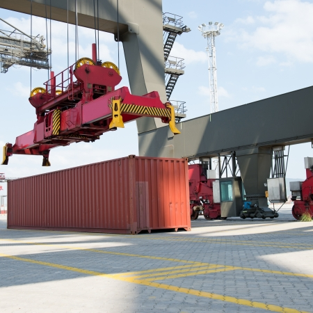 boat lift: Container operation in the port. Stock Photo