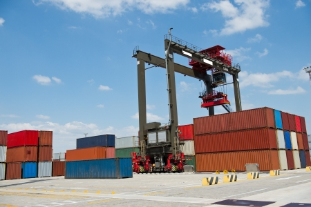 intermodal: Lots of cargo freight containers in the container terminal.
