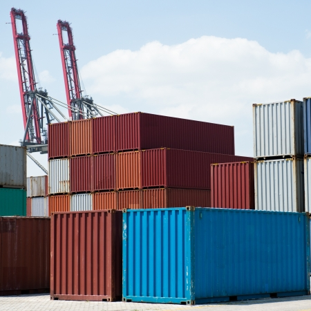 dockside: Lots of cargo containers at the docks