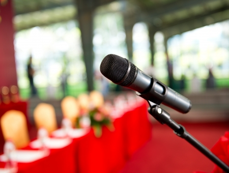 talk show: Close up of microphone in  conference room.