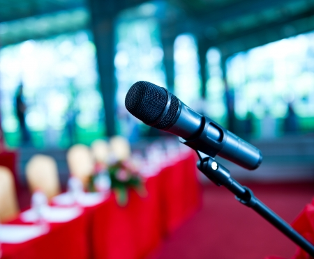 Close up of microphone in  conference room. Stock Photo - 19279286