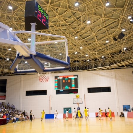 indoor shot: Scene of a basketball game. Editorial