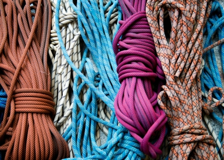 nylon: Rope bundles used for climing tree. Stock Photo