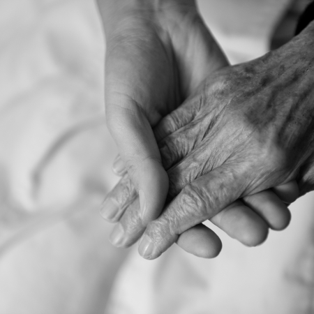 gentleness: Young girls hand touches and holds an old womans wrinkled hands.