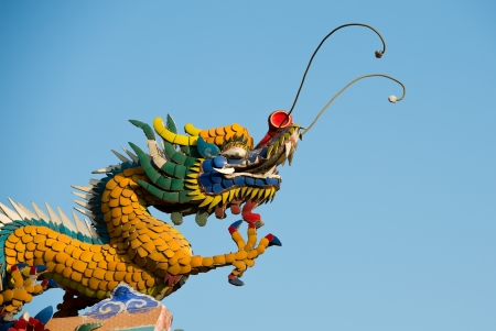 Chinese style dragon statue in a Chinese temple. photo