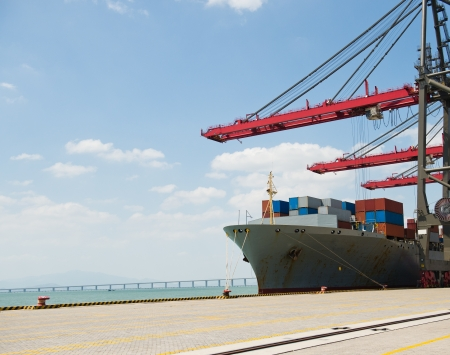 intermodal: Container operation in the port. Stock Photo