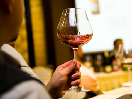 A goblet of wine in hand. Stock Photo