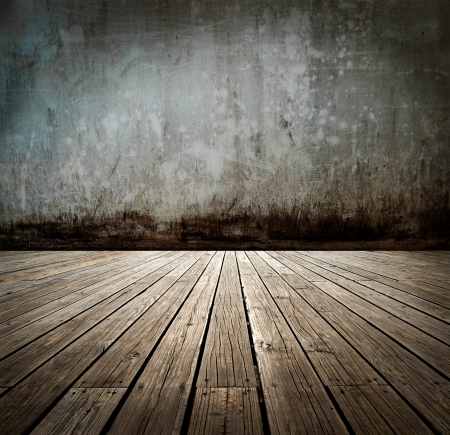 mildew: abstract the old wood floor and concrete wall for background. Stock Photo
