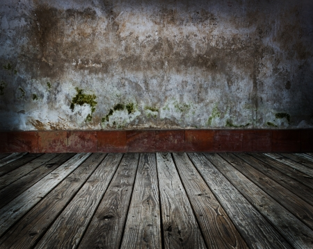 crack house: abstract the old wood floor and concrete wall for background  Stock Photo