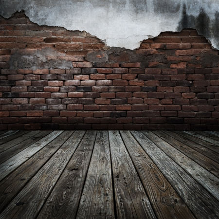 timber floor: abstract the old wood floor and brick wall for background  Stock Photo