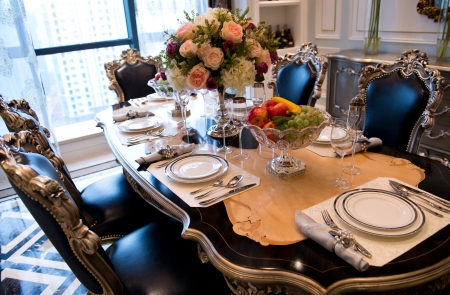 dinning table: Table set for a elegant dinner.